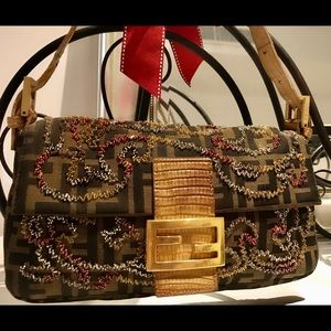 Limited Edition beaded Fendi Zucca baguette.